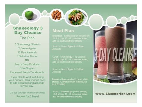 7 Day Detox Beachbody by Shakeology 3 Day Cleanse Menu Clean