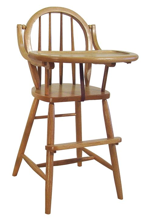 solid oak high chair baby furniture wood high chair amish bow back delivery