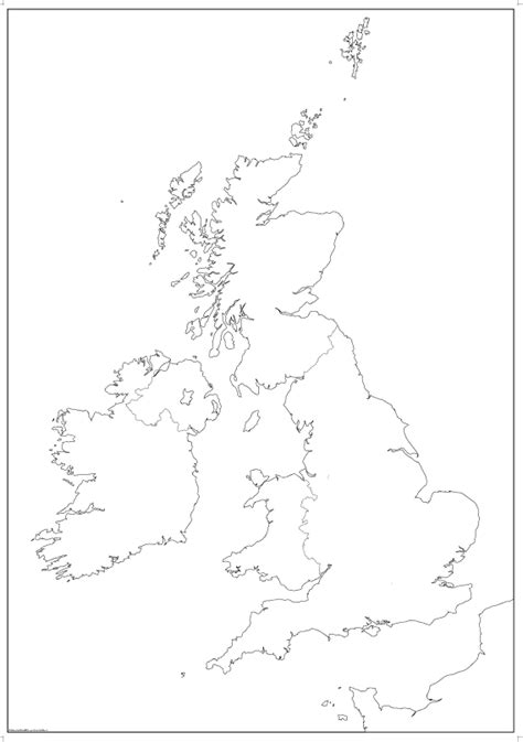 big british isles map outline  borders