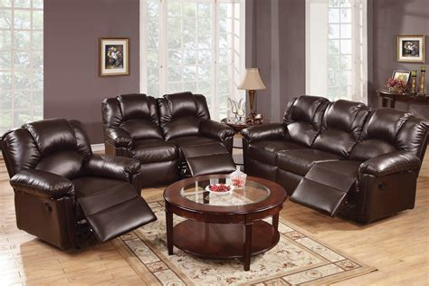 3 leather reclining living room set in espresso