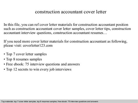 Construction Accountant Cover Letter by Construction Accountant Cover Letter