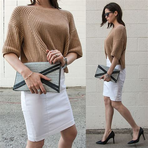 Hq 16664 White Black Set Topcrop sweaters with pencil skirts