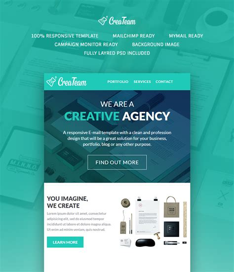 Mymail Newsletter Templates by Createam Multipurpose Agency Newsletter Buy Premium