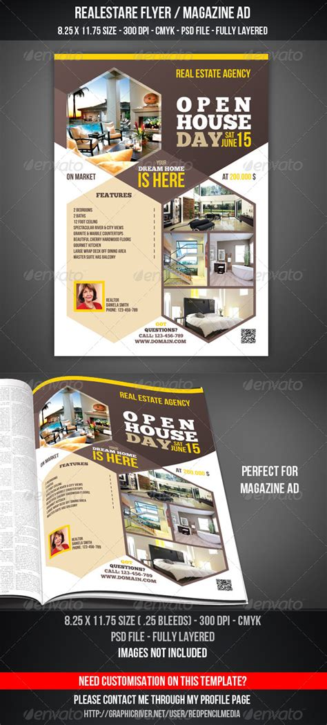 real estate advertising templates real estate open house flyer magazine ad by