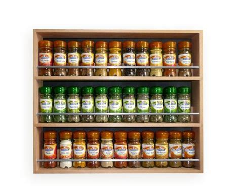 Spice Rack Large Capacity Contemporary Style Solid Beech Spice Rack 3 Tiers