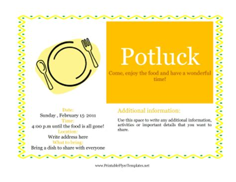 Potluck Flyer Template by Flyer For Potluck