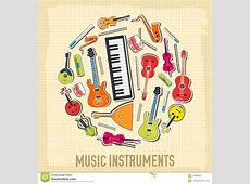 Flat Music Instruments Background Concept. Vector Stock ... Music Instruments Clipart Black And White