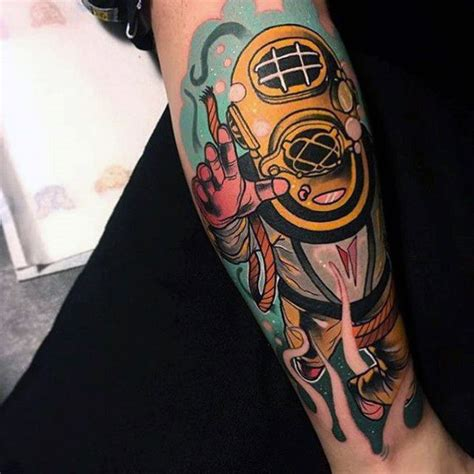 hip tattoos for guys neo traditional awesome sea diver forearm sleeve