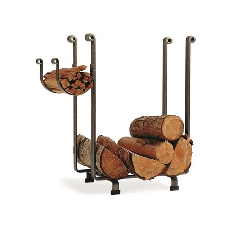 enclume rectangular log rack with hammered steel finish