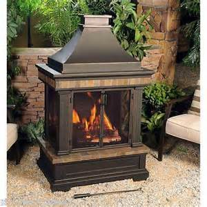 Patio Chimney Heaters Outdoor Fireplace Wood Burning Chimney Tiled Patio Deck