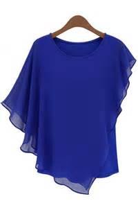 asymmetrical flounced chiffon blouse womens shirts