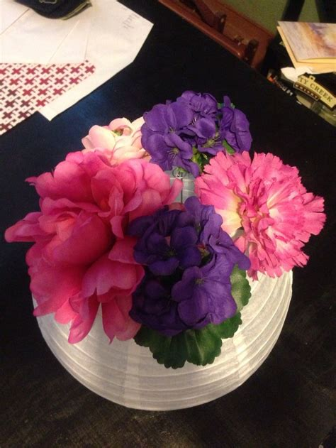 How To Make Paper Lantern Centerpieces - table centerpiece paper lantern silk flowers wedding