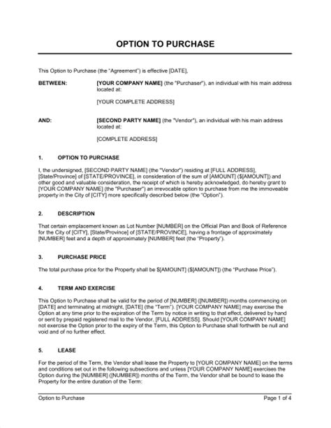 real estate option agreement template option to purchase real estate property template