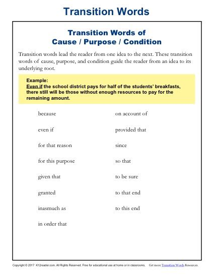 Transition Words 5th Grade Worksheet