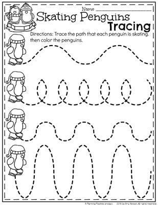 theme line winter december preschool worksheets worksheets penguins and