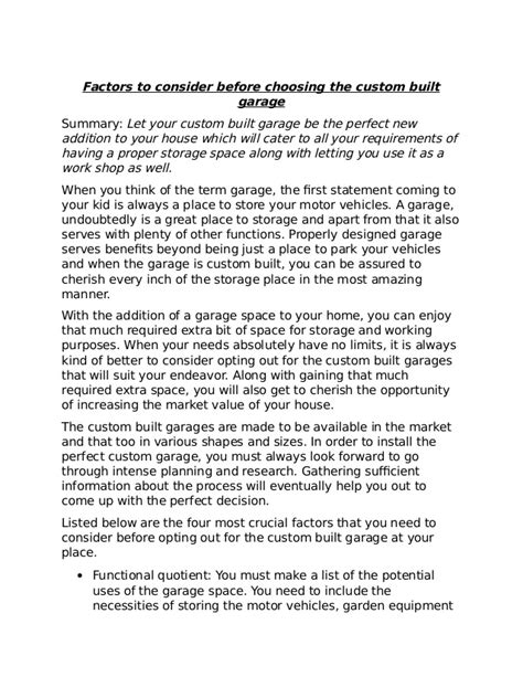 some factors to consider for choosing the perfect modern factors to consider before choosing the custom built garage
