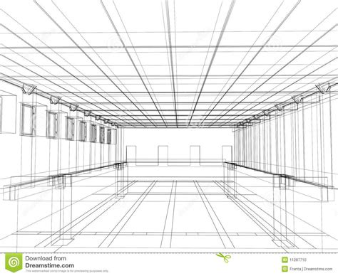 building sketch program 3d sketch of an interior of a building stock photo