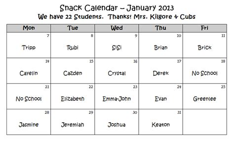 monthly snack calendar template kilgore s kindergarten communicator january snack calendar