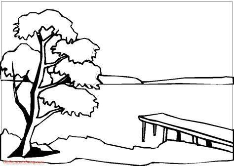 Free Coloring Pages Of A Lake Lake Coloring Page