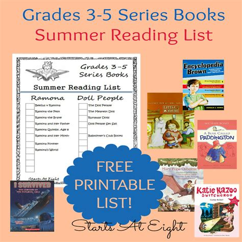 5 Books For A Wide Reader by Grades 3 5 Series Books Summer Reading List Free