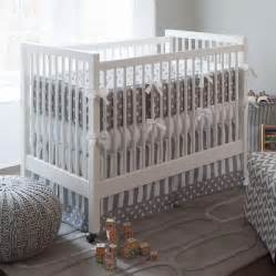 Baby Cribs With Drapes Gray And White Dots And Stripes Crib Bedding Neutral