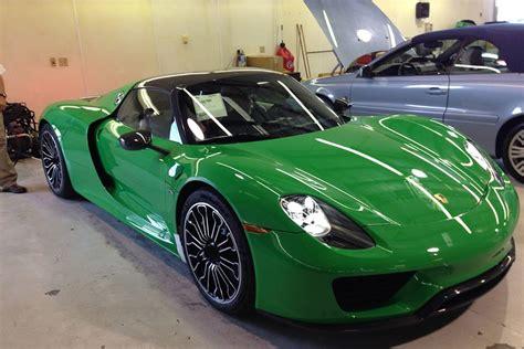 porsche signal green signal green porsche 918 weissach looks stunning