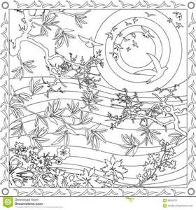coloring book adults square format japanese style design sunset vector illustration