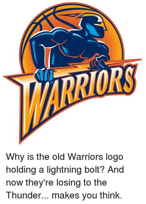 Nba Logo Meme - why is the old warriors logo holding a lightning bolt and