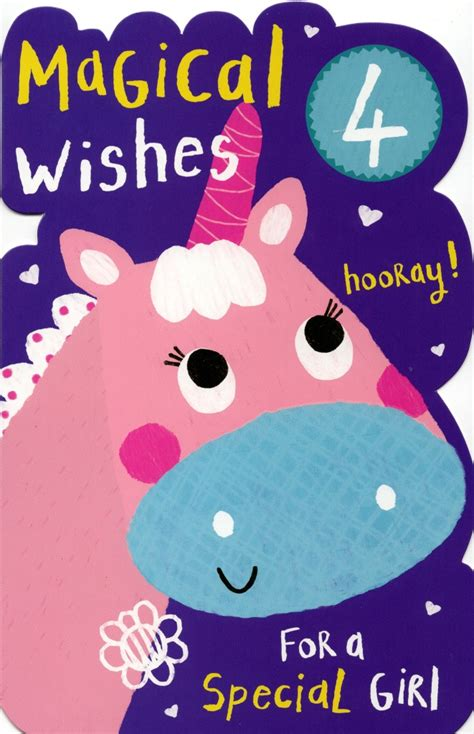Happy 4th Birthday Card Girls Happy 4th Birthday Greeting Card With Badge Cards