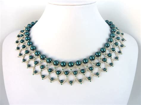 free patterns jewelry free beading pattern for pearl petals necklace woven
