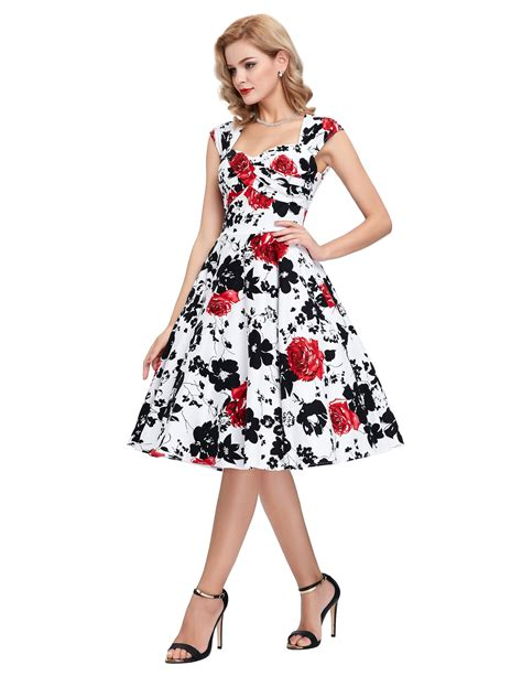 swing tea dress vintage style floral 40s 50s swing dress summer cocktail