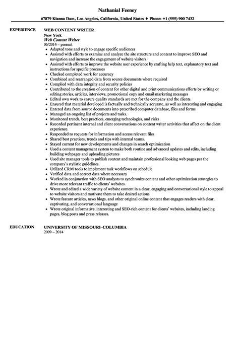 web content writer resume sle velvet jobs