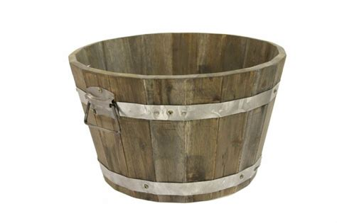 acacia wooden barrel planter pot