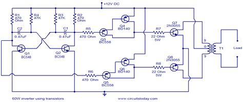 transistor npn inverter 60w inverter using transistors electronic circuits and diagrams electronic projects and design