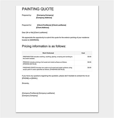 painting quotes templates painting quotation template 8 for word excel pdf
