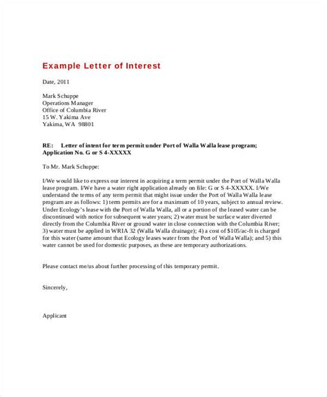 format letter of interest letter of interest 12 free sle exle format