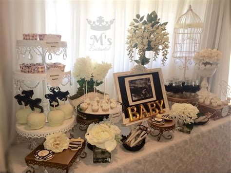 black and white shabby chic baby shower main table baby