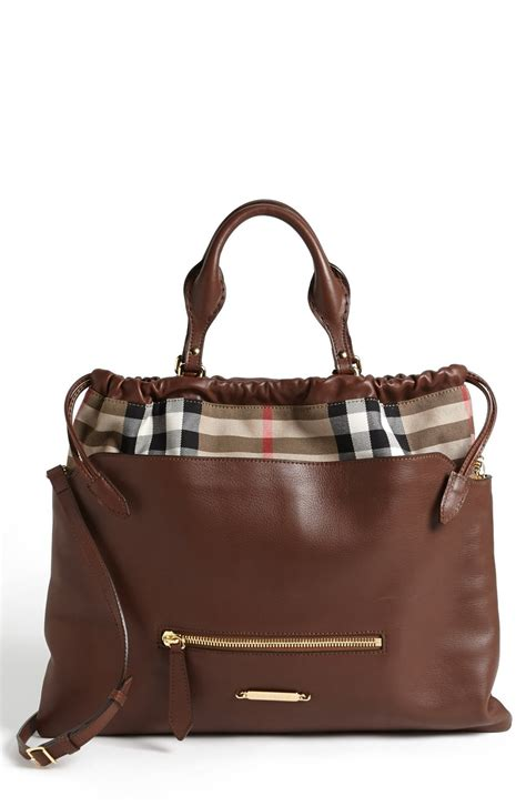 Burberry Tote by Burberry Big Crush House Check Leather Tote In Brown