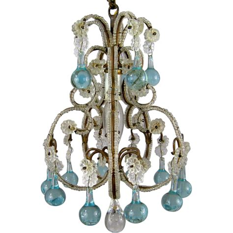 vintage beaded birdcage chandelier aqua blue prisms