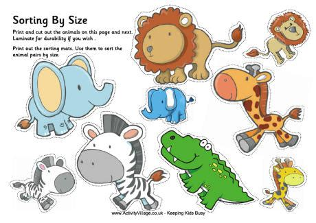 printable animal pictures for sorting big and small worksheets for kindergarten sizes big and