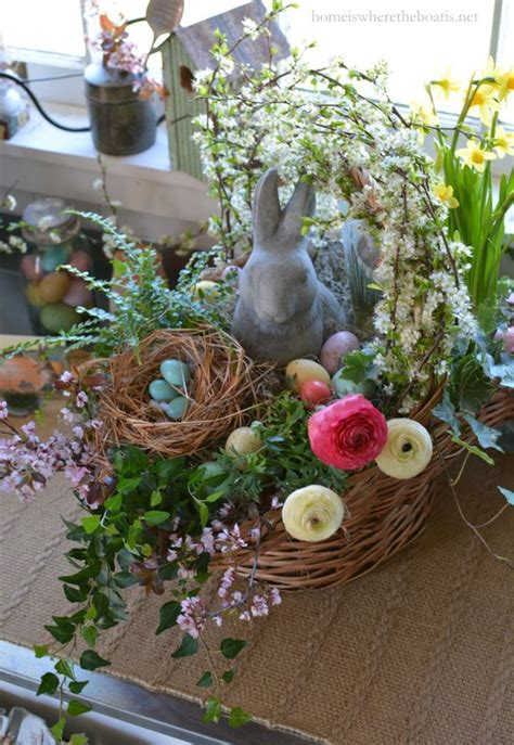 Diy Spring Centerpieces Linentablecloth Easter Arrangements Centerpieces