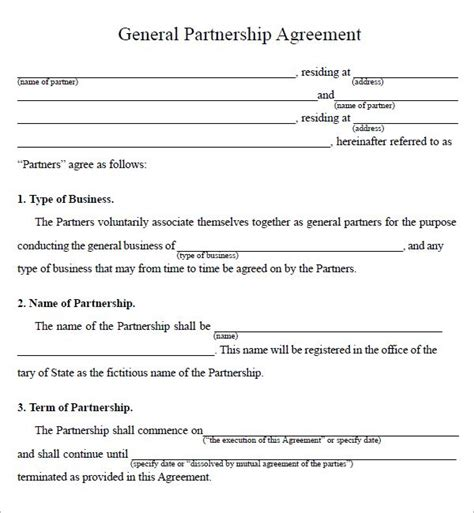 partnership agreement sle legal form pinterest
