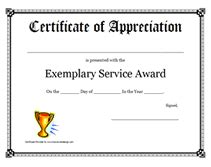 free printable exemplary service awards certificates templates