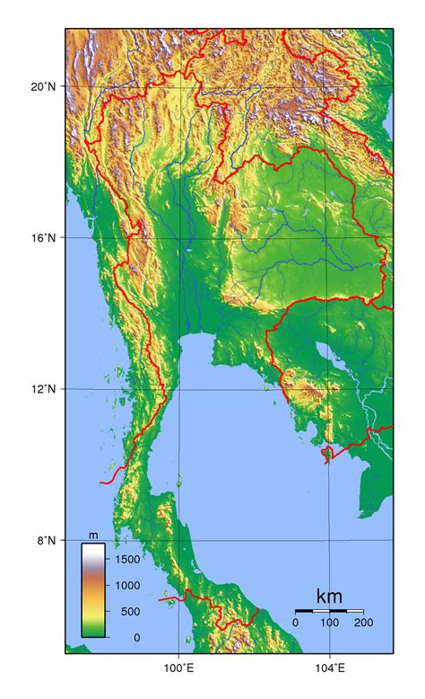 topographical map of detailed topographical map of thailand thailand asia