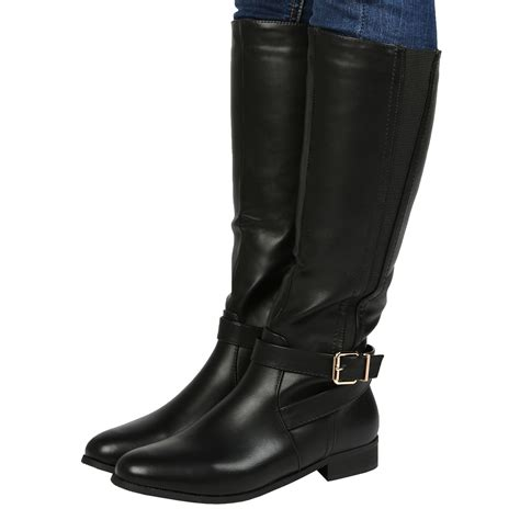 new womens mid calf boots winter buckle low