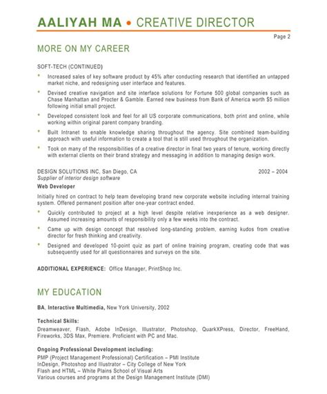 Director Resume Exles by Creative Director Free Resume Sles Blue Sky Resumes