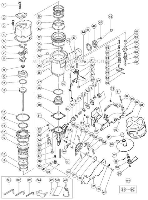hitachi nail gun parts diagram hitachi nv83a2 parts list and diagram ereplacementparts