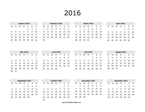 large printable yearly calendar 2016 2016 calendar free large images