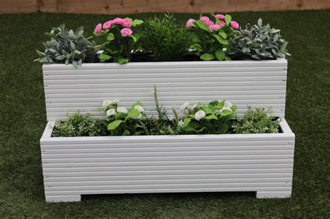 Wooden Step Planter by Small Wooden Garden Step Planter Trough Two Tier Veg Bed