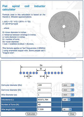 spiral inductance calculator high low tech paper speakers
